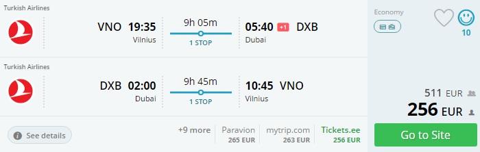 turkish airlines flights to dubai