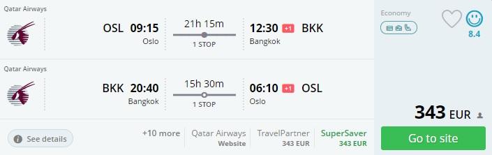 cheap flight deals to thailand from scandinavia