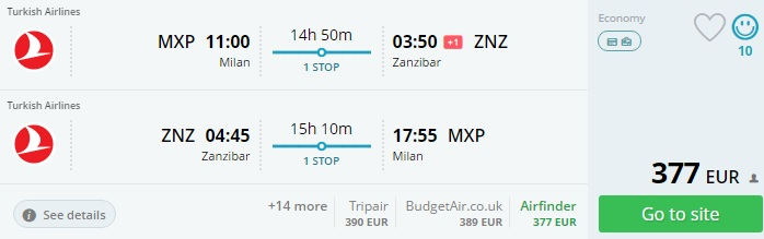 cheap flights from italy to zanzibar