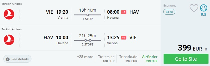 cheap flights from vienna to cuba