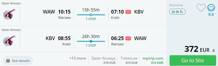 cheap flights to krabi from warsaw