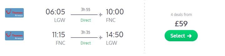 cheap flights uk madeira