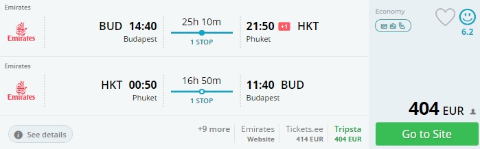 emirates flights from budapest to thailand