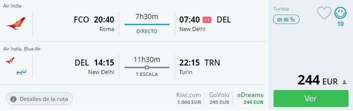 error fare flights to india from italy