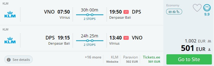flights from the baltic states to bali