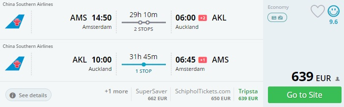 Flight tickets to new zealand from amsterdam for 632 for Cost of plane ticket to germany