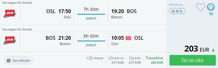 flights to boston from oslo