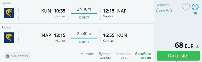 flights to naples from kaunas