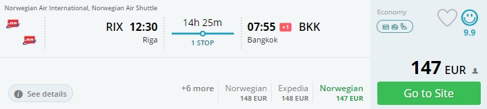 flights to thailand from riga