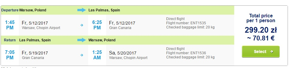 last minute flights from warsaw to gran canaria