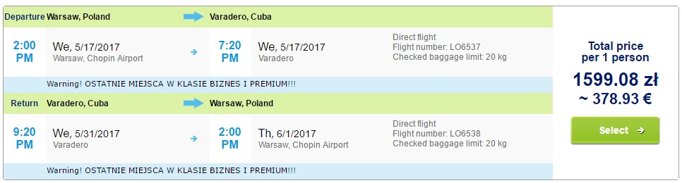 last minute flights to cuba from warsaw
