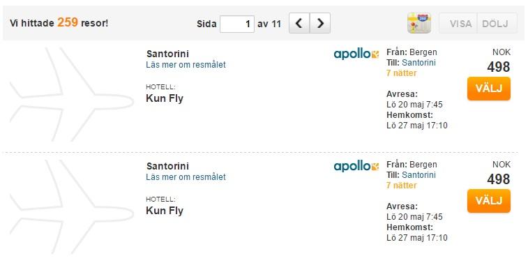 last minute flights to santorini from bergen