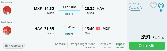 non stop flights to cuba from milan