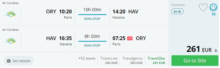 non stop flights to cuba from paris
