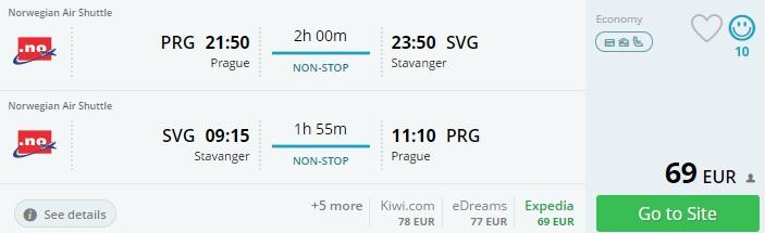 norwegian flights from prague to stavanger