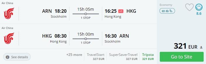 Cheap flights to HONG KONG from Stockholm