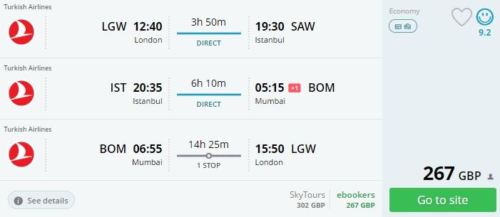 Flight tickets from London to TURKEY