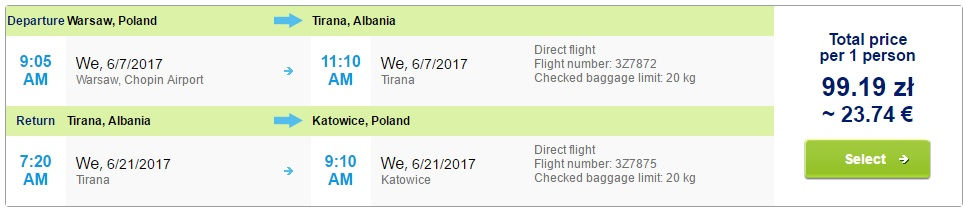 LAST MINUTE flights to ALBANIA from Warsaw