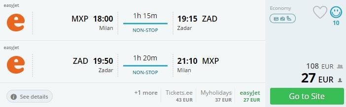 Summer flights to CROATIA from Milan