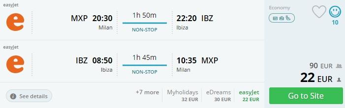 cheap flight tickets to ibiza from milan