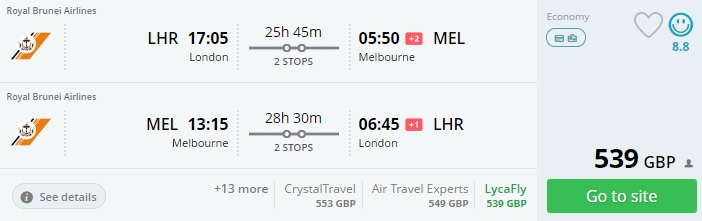 cheap flights from london to melbourne