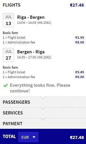 cheap summer flights to bergen from riga