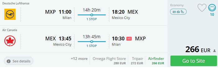 cheap flights to mexico from milan