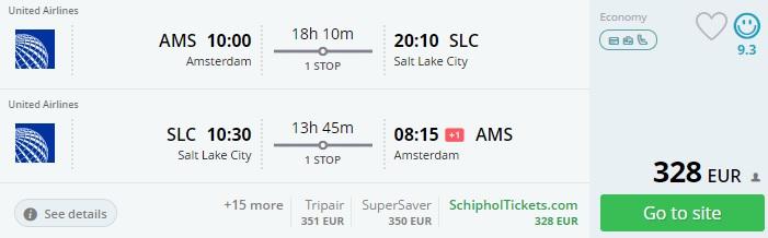 cheap flights to salt lake city from amsterdam