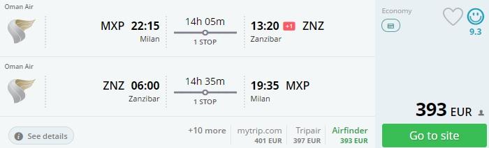 cheap flights to zanzibar from milan