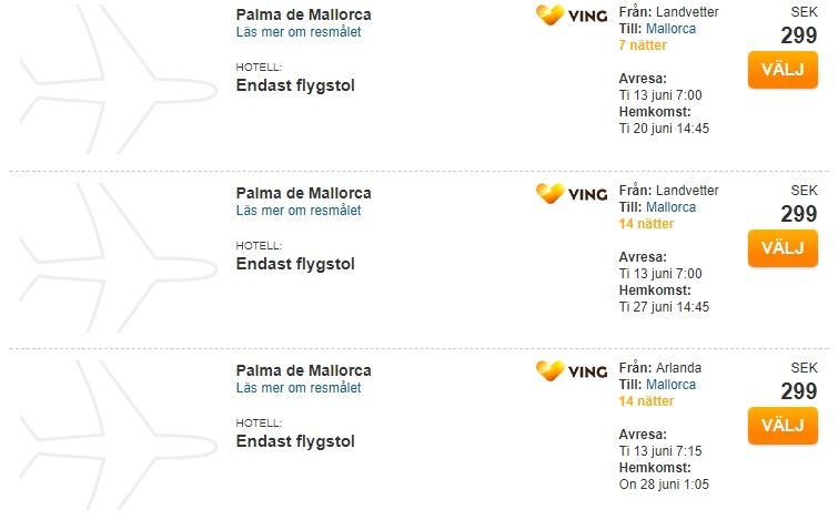 cheap tickets to palma mallorca from sweden