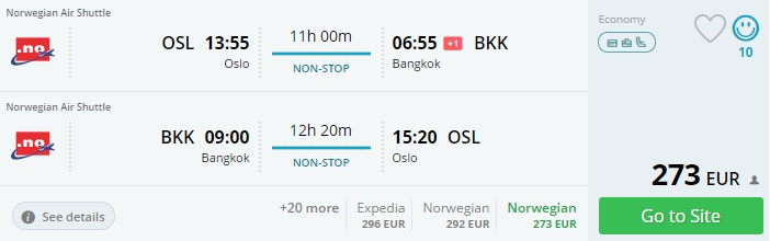 cheap tickets to thailand from oslo