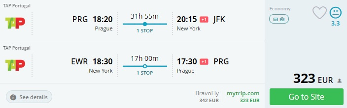 christmas flights from prague to new york