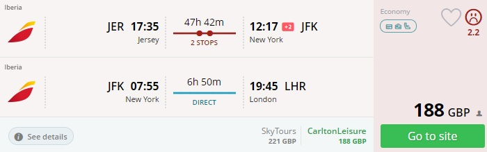 error fare to new york from uk