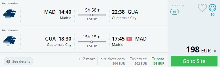 error fare to south america from madrid