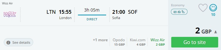 flight tickets to sofia from london