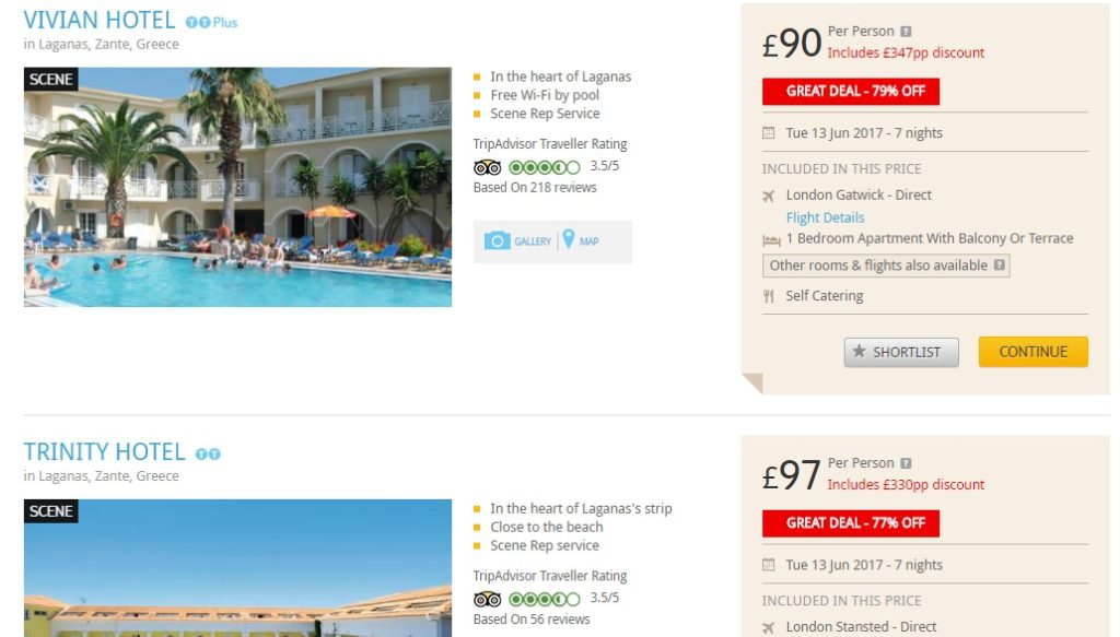 holiday package to zakynthos from london