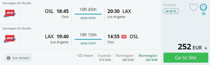 non stop flights to los angeles from oslo