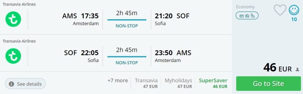 Amsterdam to many European cities