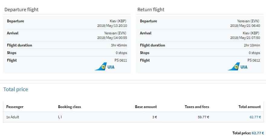 Cheap flights to ARMENIA from Kyiv