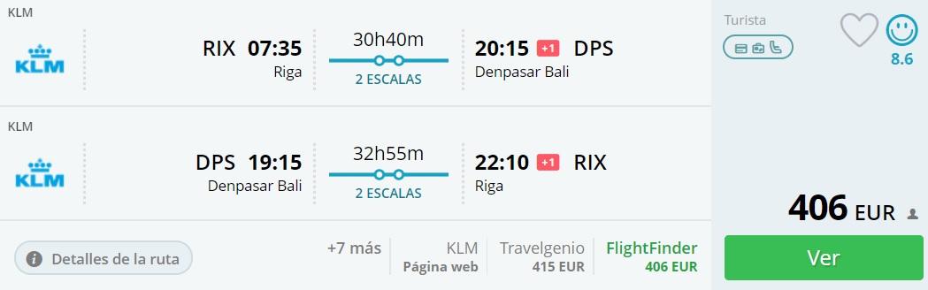 Flight tickets to BALI from Riga
