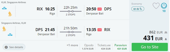 Hit flight tickets to bali from riga latvia for 431 for Cost of plane ticket to germany