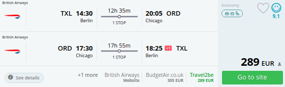 Cheap flights from berlin to chicago from 289 round trip for Cheap round trip flights from chicago