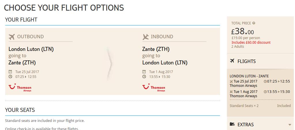 Summer flight London Zakynthos