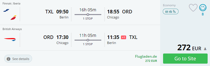 Cheap flights from berlin to chicago from 272 round trip for Cheap round trip flights from chicago