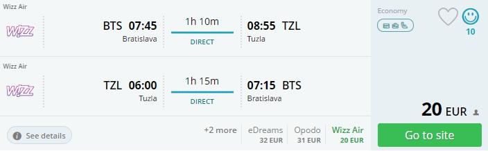 cheap flights from bratislava to tuzla