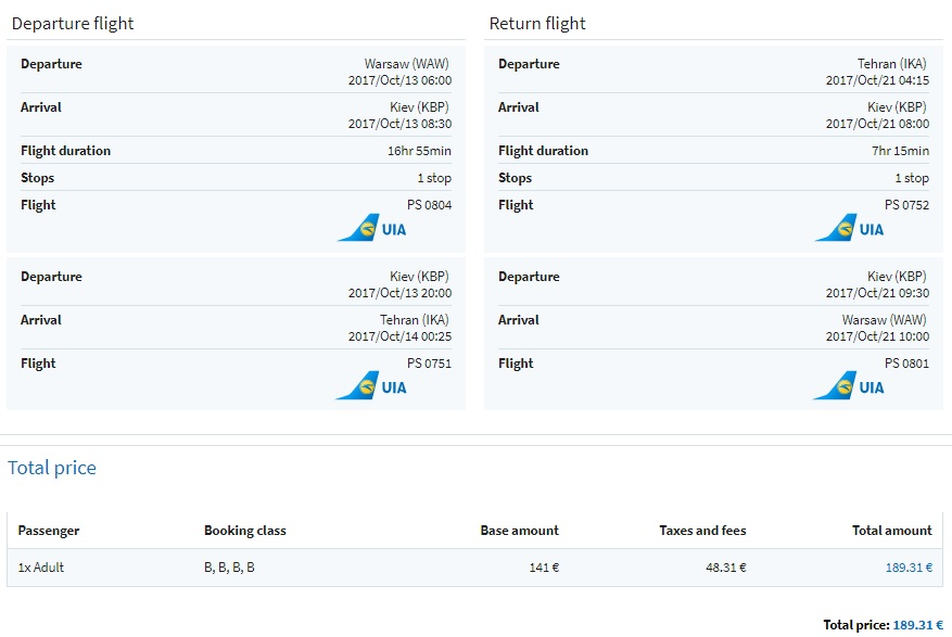 cheap flights warsaw iran
