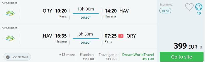 flights paris cuba