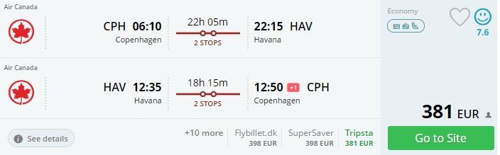 cheap flights to cuba from copenhagen