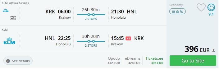 cheap flights to hawaii from krakow