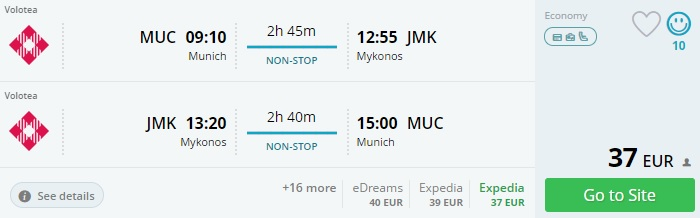 summer flights from munich to mykonos